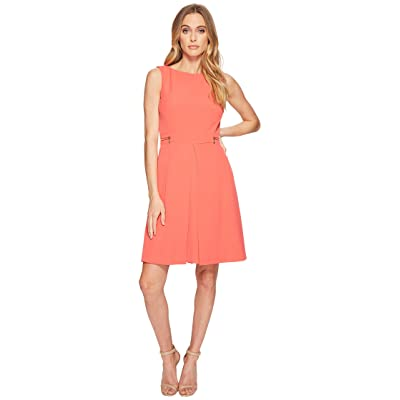 Tahari by ASL Side Zipper Fit-and-Flare Dress (Bright Coral) Women
