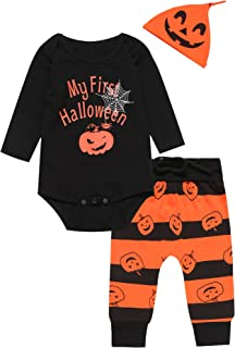 3PCS Baby Boys' Outfit Set Halloween Pumpkin Costume Long Sleeve Romper