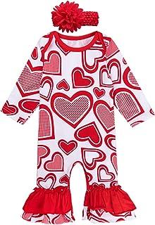 MOMBEBE COSLAND Baby Mädchen Herz Strampler Valentinstag Rüschen Spielanzug Outfit