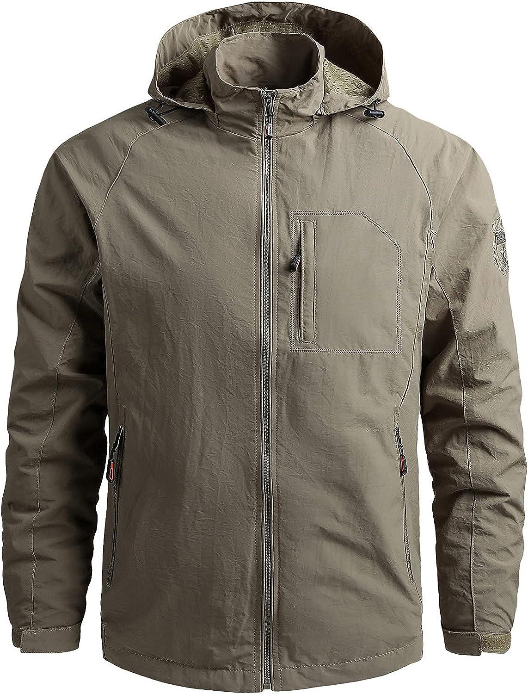 Men's Windbreakers Waterproof Breathable Plus Size Raincoat Lightweight Outdoor Travel Jacket Casual Hooded Trench Coat