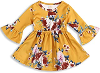 YOUNGER TREE Toddler Infant Baby Girl Dress Floral Ruffle Flare Half Sleeve Yellow Skirt Party Dresses Clothes
