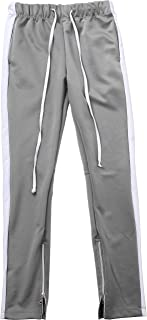 Ma Croix Mens Premium Stripe Track Hoodie Zip Up and Jogger Pants Skinny Fit Training Set