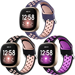 Getino Compatible with Fitbit Versa 3 Bands Fitbit Sense Bands Women Men, Breathable Durable Soft Replacement Sport Silicone Accessories Strap with Air Holes, Large Blackplum/Bluepink/Blackpink