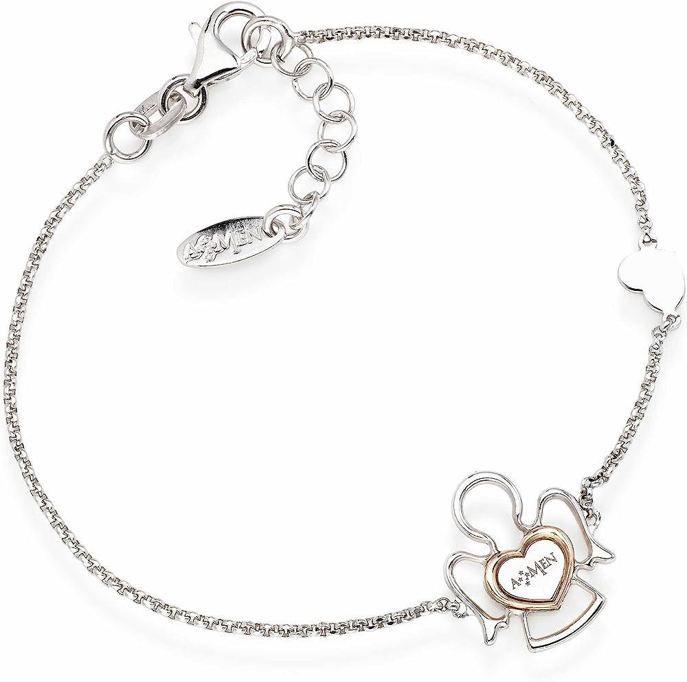 Amen,bracciale per donna,in argento 925 rodiato/rosè BRAN3