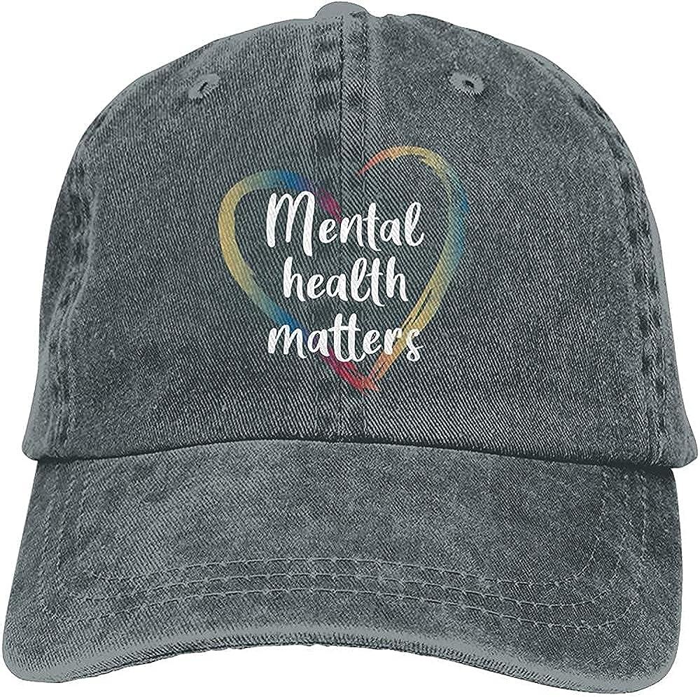 BGWORZD Fashion Mental Health Matters Hat Unisex Baseball Cap Adjustable Comfortable Cowboy Hat Black