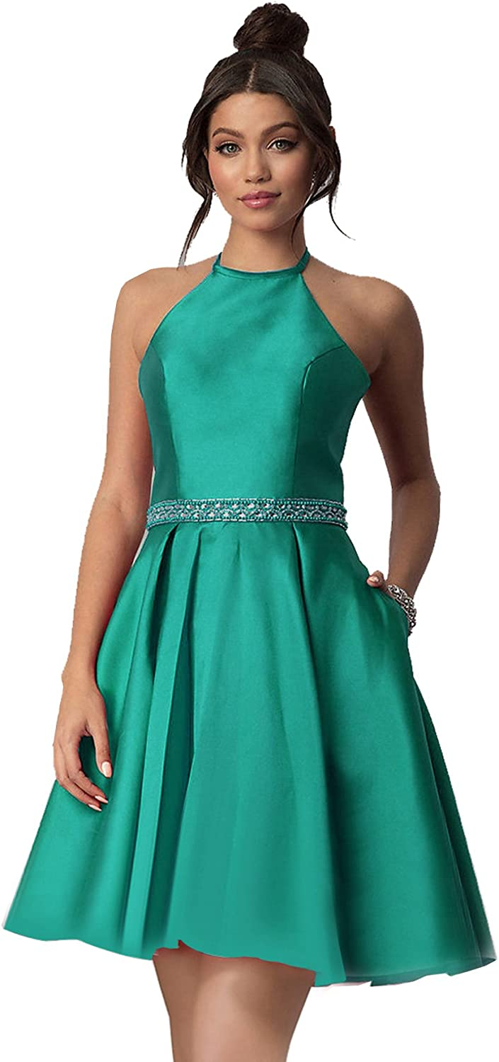 Womens Halter Neck Satin Beaded Beaded Prom Ball Gown with Pockets 2018 Short