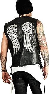 Men's The Walking Dead Governor Angel Wings Daryl Dixon Black Genuine Leather Vest Jacket
