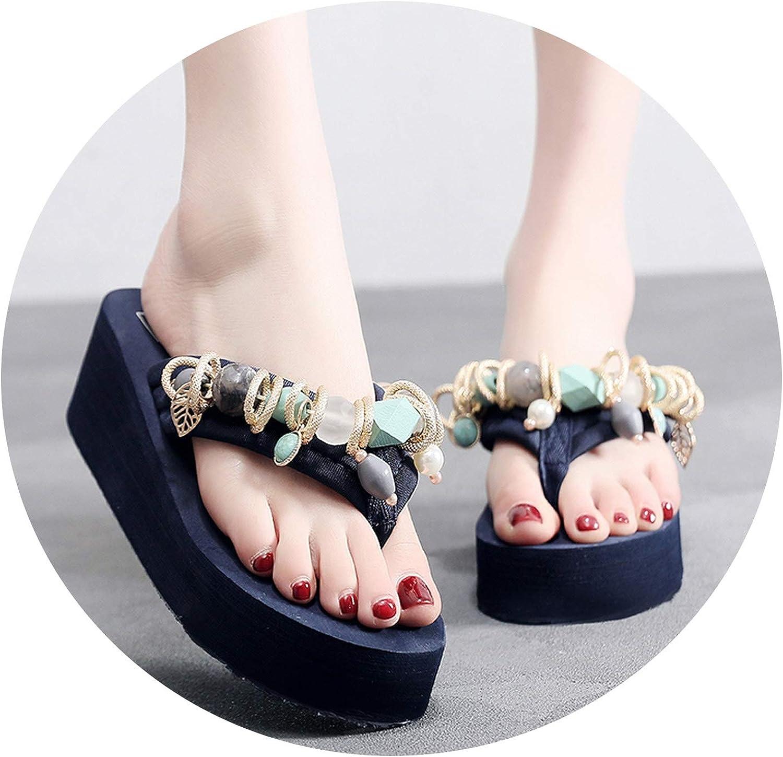 Slides Home Slippers Summer Bead Leaf Slippers One-Shouldered Platform shoes,bluee,9.5,