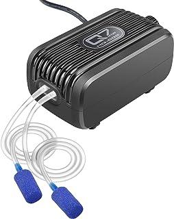 IREENUO Bomba Aire Acuario, 3W - 2 * 150L / H Bomba Oxígeno Ultra Silencioso para pecera para Agua Dulce y Salada con 2 Toma de Aire Piedra