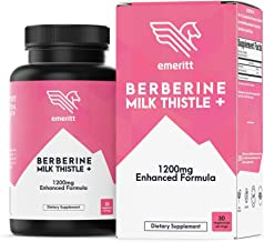 Berberine 1200mg Enhanced with Milk Thistle for Optimal Absorption, Blood Glucose Management, Fat Metabolism, Immunity and...