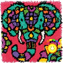 Size : Elephant Latch Hook Rug Kit for Adults DIY Craft Carpet Kits Printed Canvas with Giraffe Elephant in The Sunset Pattern Shaggy Cushion Home Decoration 17.7 X 17.7,Giraffe