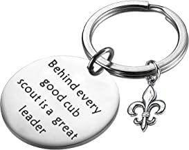PLITI Boy Girl Scout Gifts Behind Every Good Cub Scout is A Great Leader Keychain Key Ring Cub Scout Leader Gift