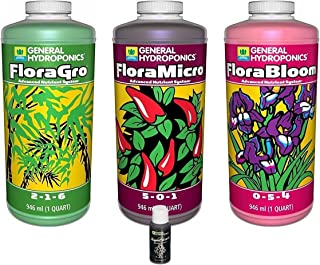General Hydroponics GLCMBX0003 FloraGro, FloraBloom, FloraMicro Set + 1oz Rapidstart, 1 Quart Combo Pack Fertilizer