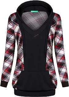 Kimmery Woman Long Sleeve V Neck Drawstring Kangaroo Pocket Patchwork Hoodie