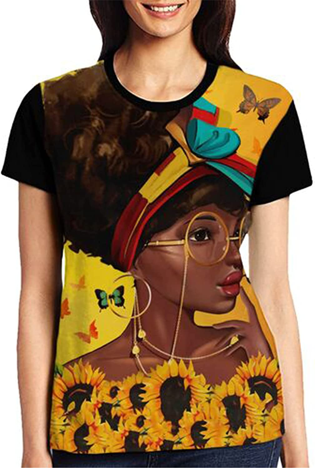 Wtonlaide Women's Fashion Max 57% OFF T-Shirt In a popularity Crown Piece Girl Prin Front 3D