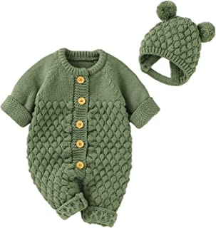 Newborn Baby Knitted Romper Cute Jumpsuit + Hat Sweater Outfit Set for Unisex
