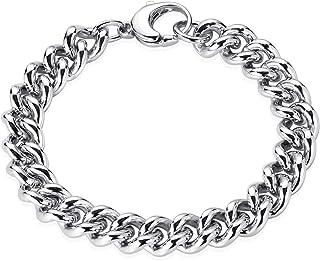 Materia, bracciale da uomo in argento Sterling 925, maglia barbazzale da 10 mm di larghezza, rodiato, 20-24 cm di larghezza