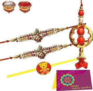 Tonkwalas Swastik Kalash Stone Pair Rakhi for Brother 2 Rakhi & 1 Lumba Or 1 Children Rakhi Rakshabandhan Gift with Greeting Card and Roli Chawal