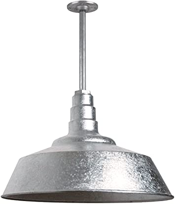 The Manhattan Industrial Pendant Light Large Warehouse Barn Light With Rigid Stem For Ceiling Heavy Duty Steel Light Made In America Galvanized Amazon Com