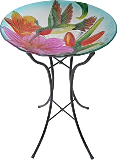 Peaktop Outdoor Garden Hand Painted Hummingbird Fusion Glass Bird Bath, 21