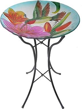 Peaktop Outdoor Hand-Painted Hummingbird Fusion Glass Birdbath Bowl Feeder with Metal Stand for Patio Garden Backyard