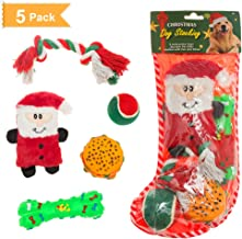 SCENEREAL Christmas Dog Toys Xmas Gifts Interactive Chew Toy for Small Dogs Puppy Playing 5 Pack/Set