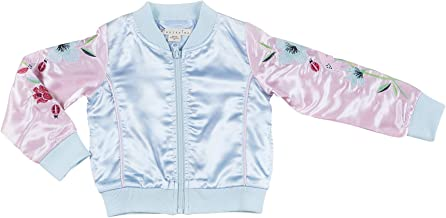 Kinderkind Toddler Girls Satin Embroidered Floral Bomber Jacket : Sizes 2T-3T-4T-5T-6-7