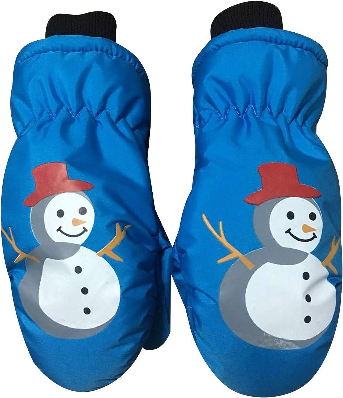 Alueery Children's Snowman Cartoon Skiing Cold Waterproof Snowproof Gloves