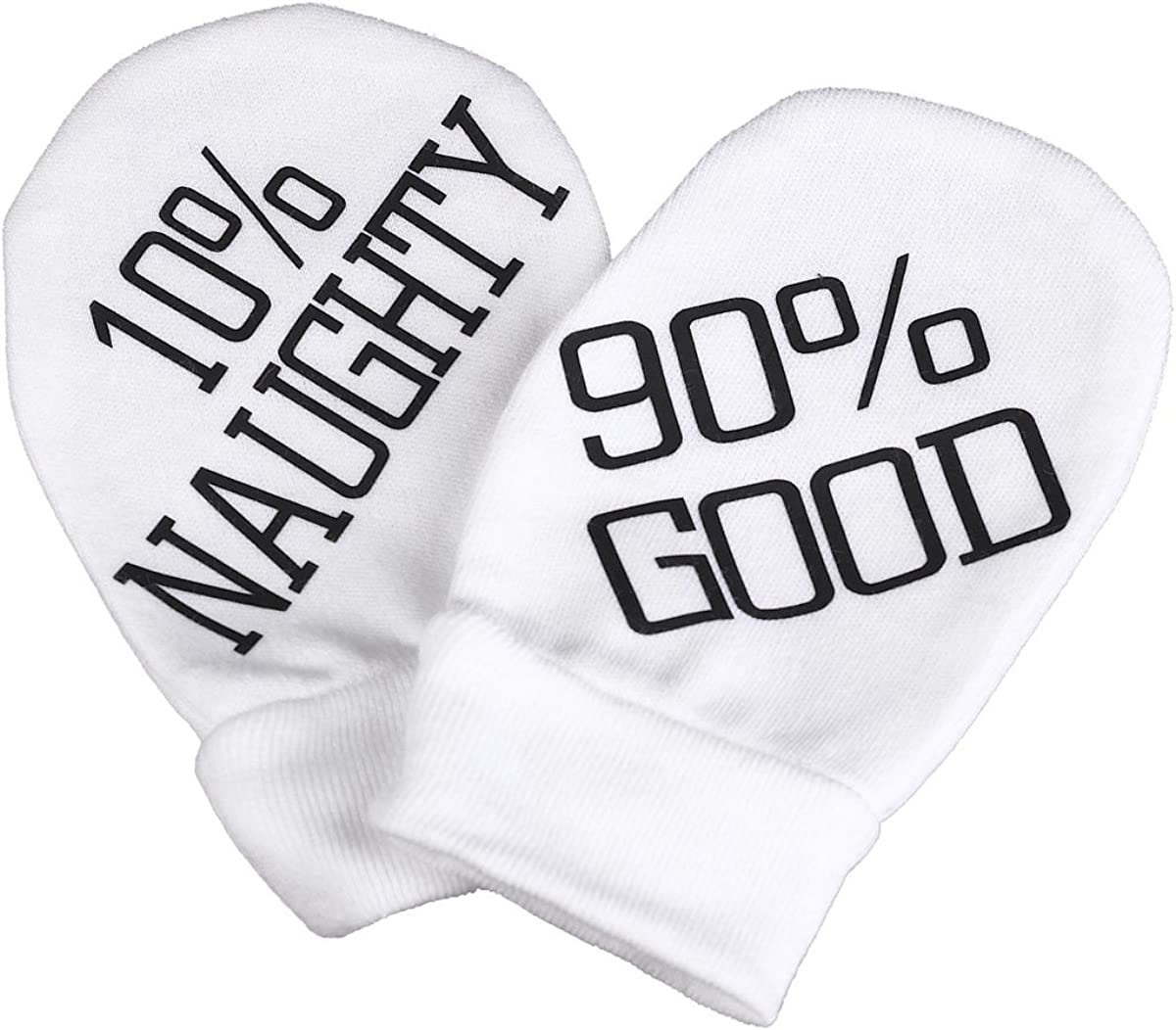Spoilt Rotten - Naughty & Good 100% Organic Cotton Baby Mittens Baby Gloves