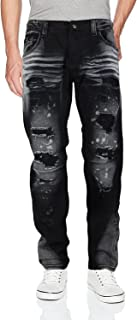 Men's Moto Quilted Zip Distressed Ripped Denim Jeans
