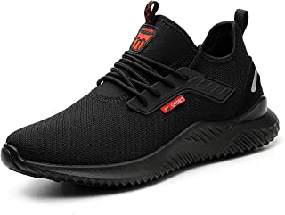 YISIQ Lightweight Safety Shoes Men Women Work Trainers Steel Toe Caps Sport Breathable Industrial Protective Work Trainer ...