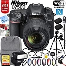 Nikon D7500 20.9MP DX-Format Digital SLR Camera with AF-S 18-140mm f/3.5-5.6G ED VR Lens Bundle with Speedlight Flash, 128GB Memory Card, 1 Year Extended Warranty and Accessories (17 Items)