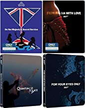 Four Bonds Daniel Craig / Roger Moore / Sean Connery & Lazenby James Steelbook Collection Quantum Solace 007 Blu Ray Russia with Love / Your Eyes Only / Majesties Secret Service film Action Movie Set