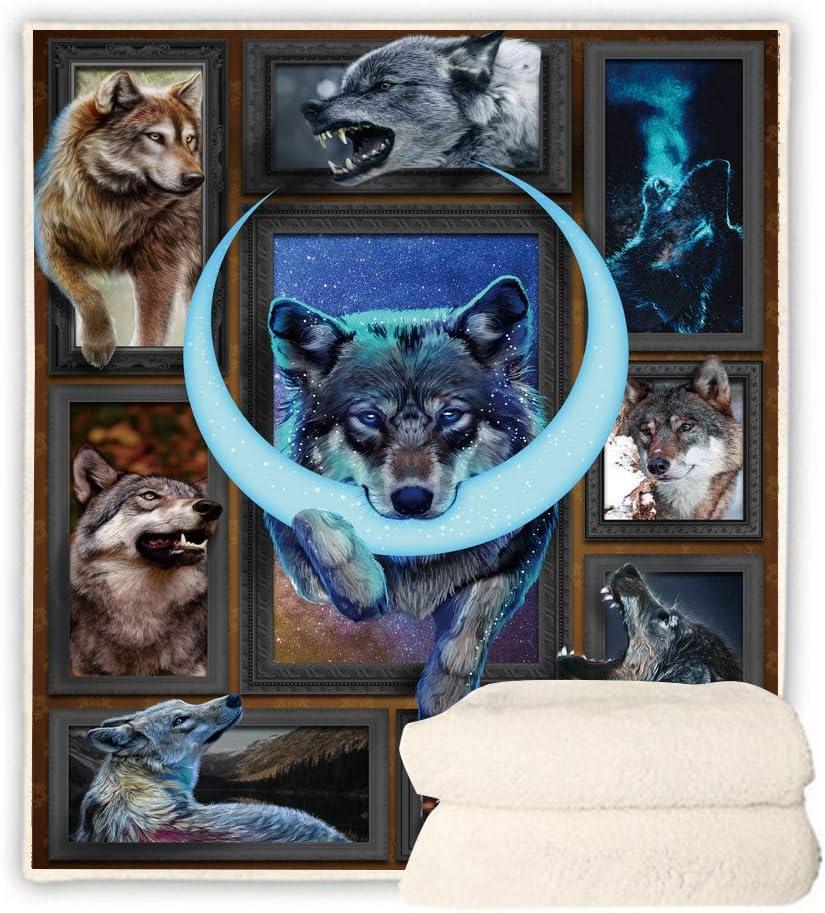 BEDBLK 価格 交渉 送料無料 Crescent Moon Wolf Sherpa Fleece お金を節約 Sofa Couch Blanket H Bed