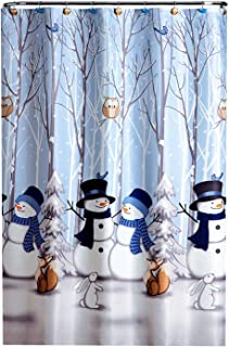 Winter Friends Shower Curtain Set with Hooks, Christmas Snowman and Woodlands Theme, 70 x 72 inches, Polyester Fabric, 12 Resin Owl and Bird Hooks for Easy and Secure Hanging