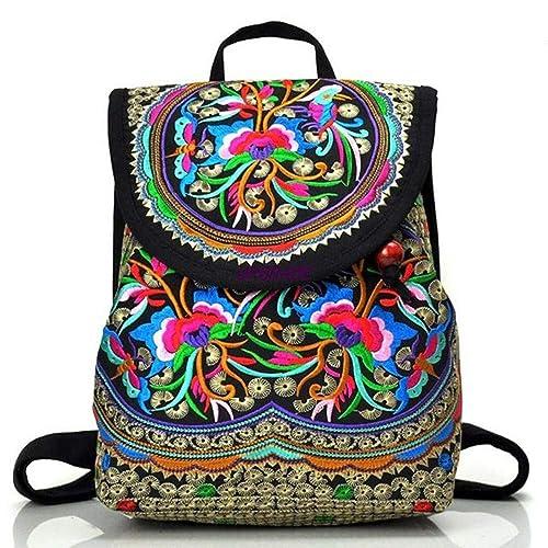 6388681c93 Goodhan Vintage Women Embroidery Ethnic Backpack Travel Handbag Shoulder Bag  Mochila