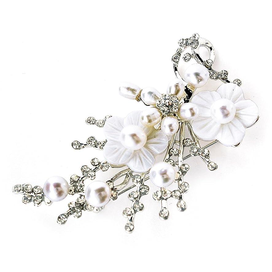 テンポ申し立てる先見の明One&Only Jewellery 【匠の技】 淡水パール 本真珠 桜梅 K18GP ブローチ (ホワイト)