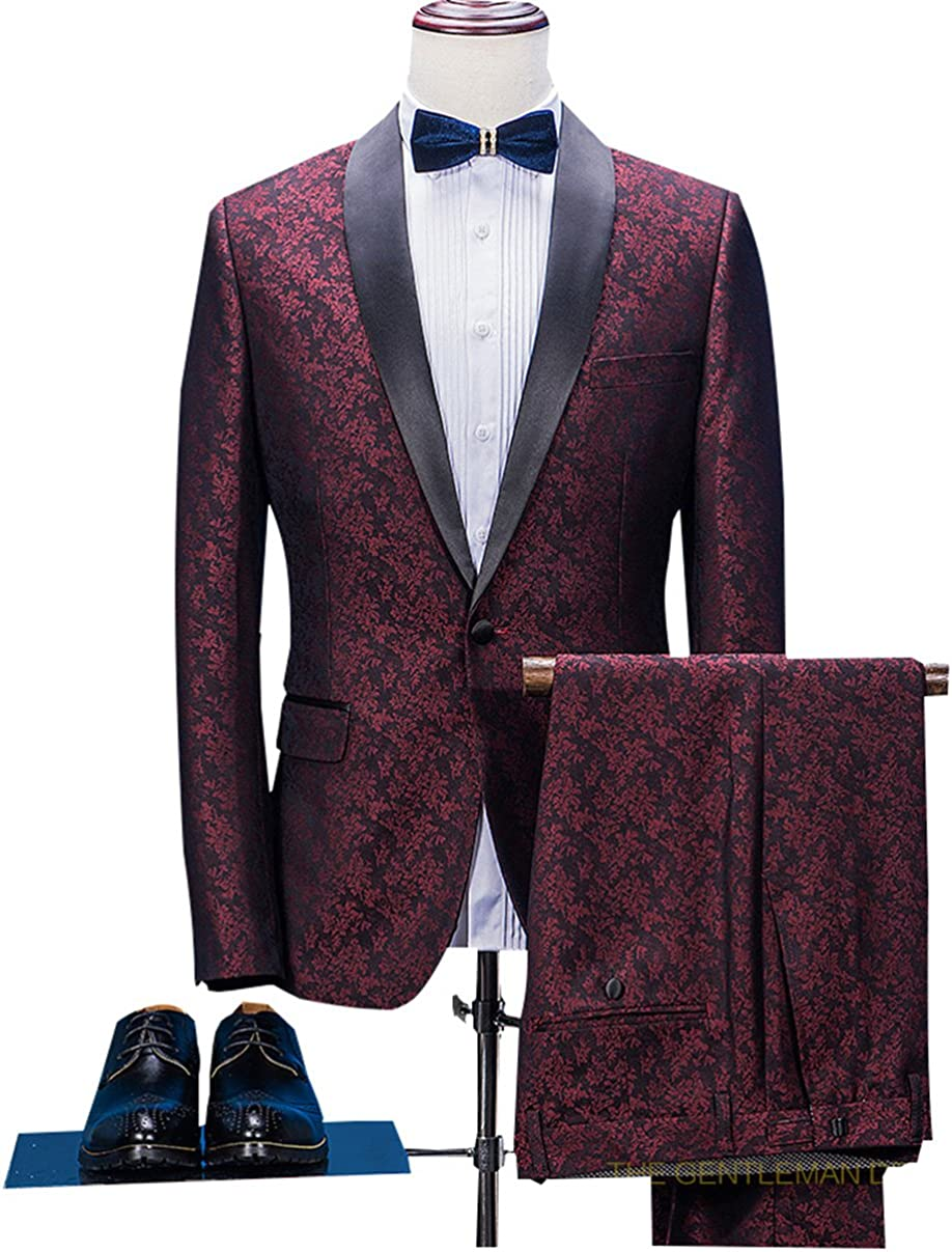 Classic Burgundy Floral Men's 2 Piece Mail order Slim Fit Gr Suits Bridegroom