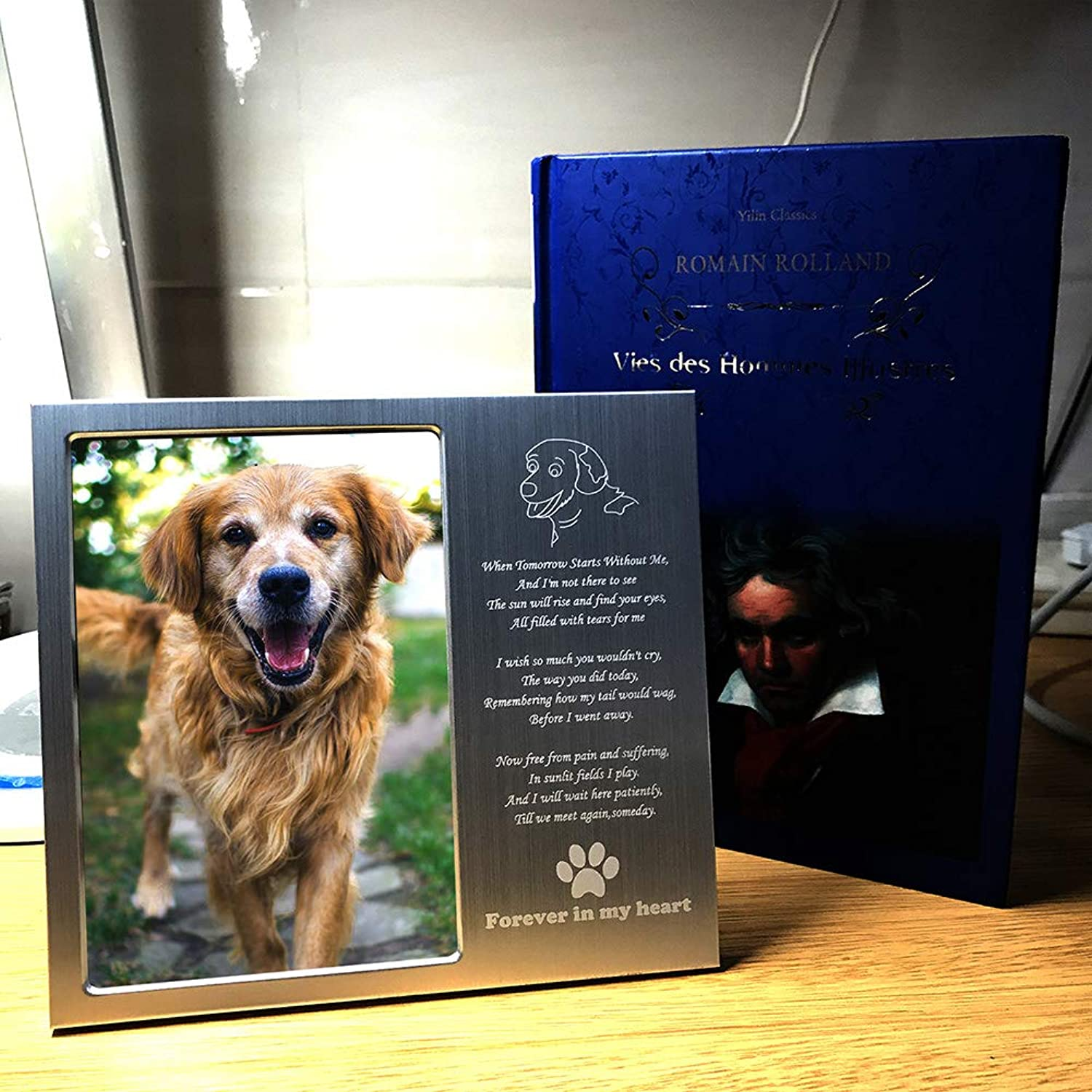 DJLOOKK Pet Memorial Coming Soul Souvenir Dog Commemorative Photo Frame 6 Inch Photo Frame Desktop Photo Frame Aluminum Frame