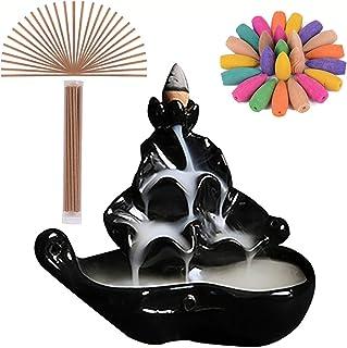 Incense Burner Ceramics Handcrafted Porcelain Censer Inscent Stick Stand Waterfall Incense Holder Backflow Cone (Black)