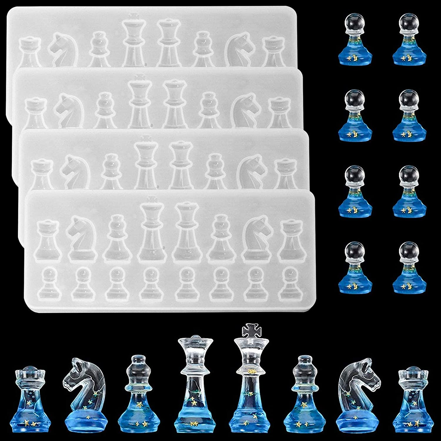 3D Chess Resin Mold,for Resin Casting - Also Ideal for Polymer Clay,Crafting,Making Chocolate,Ice Cubes,Candy,Fondant Cake Decorating etc-4 pcs