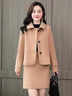 Fanru 梵如 女式 时尚套装冬装新款修身毛呢大衣女短款毛呢外套呢大衣两件套半身裙 F611-A612