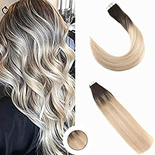 Ugeat 16inch Ombre Tape in Human Hair Extensions Balayage Seamless Glue in Skin Weft Real Remy Human Hair Extensions Salon...
