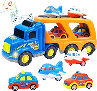 Faeny 5 in 1 Transportation Toy Set containing 2 Cars, 2 Planes and 1 Large Carrier Truck with Sound and Light, Science Ed...