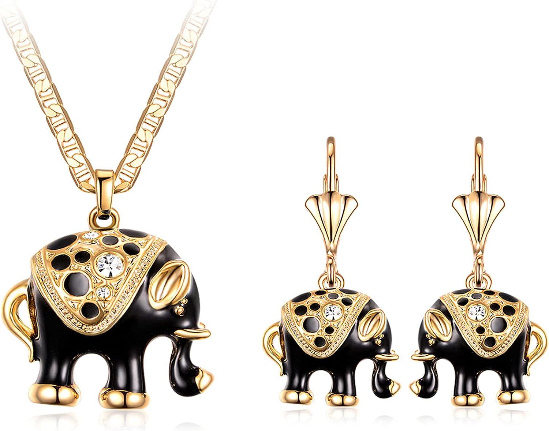 Barzel 18K Gold Plated Elephant Necklace & Earrings Set - Made In Brazil