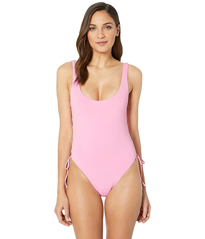 THE BIKINI LAB Solids Lace-Up High Leg One-Piece (Pink) Women