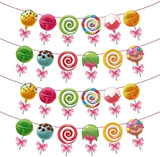 PYHOT Lollipop Banner Rainbow Candy Decoration Banner for Candyland Party Birthday,Chirstmas Party Supplies Decorations