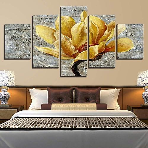 YHEGV Impresiones En Lienzo Lienzo HD Imprime Fotos Decoración para el hogar Marco 5 Piezas oro amarillo Flores Pinturas Orquídea Dorada Carteles Arte de la Parojo de la Sala de Estar