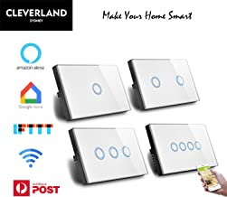 AU Approved Smart WiFi Light Switch Touch Panel for Downlight Google Home Alexa IFTTT (3 Gang WiFi Switch)