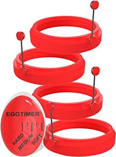 4 Egg Rings and Egg Timer Set, Red Pancake Molds Made of Food-Grade Silicone for Fried Eggs, Homemade Omelets, Frittatas, and Crumpets – Flippy Cooking Forms Suitable as Round Muffin Shapers